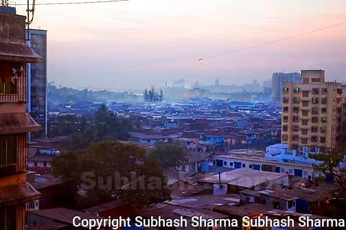 Dharavi : aerial view,Dharavi,Mumbai the largest slum in asia. Dharavi aerial view:Dharavi,Mumbai, the largest slum in Asia at dusk.