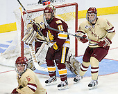 Jake Hendrickson (Duluth - 15), Edwin Shea (BC - 8) - The Boston College Eagles defeated the University of Minnesota Duluth Bulldogs 4-0 to win the NCAA Northeast Regional on Sunday, March 25, 2012, at the DCU Center in Worcester, Massachusetts.