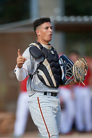 Sebastian Jimenez during the WWBA World Championship at the Roger Dean Complex on October 13, 2019 in Jupiter, Florida.  Sebastian Jimenez attends Coral Reef Senior High School in Miami, FL and is committed to Florida State.  (Mike Janes/Four Seam Images)