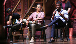 """Roddy Kennedy, Anthony Lee Medina and Ryan Vasquez from the 'Hamilton' cast during a Q & A before The Rockefeller Foundation and The Gilder Lehrman Institute of American History sponsored High School student #EduHam matinee performance of """"Hamilton"""" at the Richard Rodgers Theatre on June 6, 2018 in New York City."""