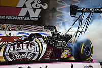 Oct. 26, 2012; Las Vegas, NV, USA: NHRA top fuel dragster driver Shawn Langdon during qualifying for the Big O Tires Nationals at The Strip in Las Vegas. Mandatory Credit: Mark J. Rebilas-