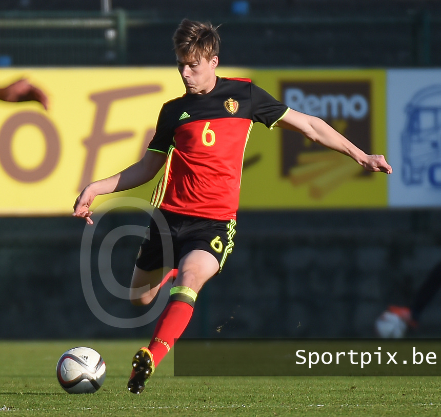 20170323 - BEVEREN , BELGIUM : Belgian Rubin Seigers pictured during the UEFA Under 19 Elite round game between Sweden U19 and Belgium U19, on the first matchday in group 7 of the Uefa Under 19 elite round in Belgium , thursday 23 th March 2017 . PHOTO SPORTPIX.BE | DIRK VUYLSTEKE