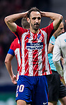 Juan Francisco Torres Belen, Juanfran, of Atletico de Madrid reacts after referee David Fernandez Borbalan shows him the yellow card during the La Liga 2017-18 match between Atletico de Madrid and Real Madrid at Wanda Metropolitano  on November 18 2017 in Madrid, Spain. Photo by Diego Gonzalez / Power Sport Images