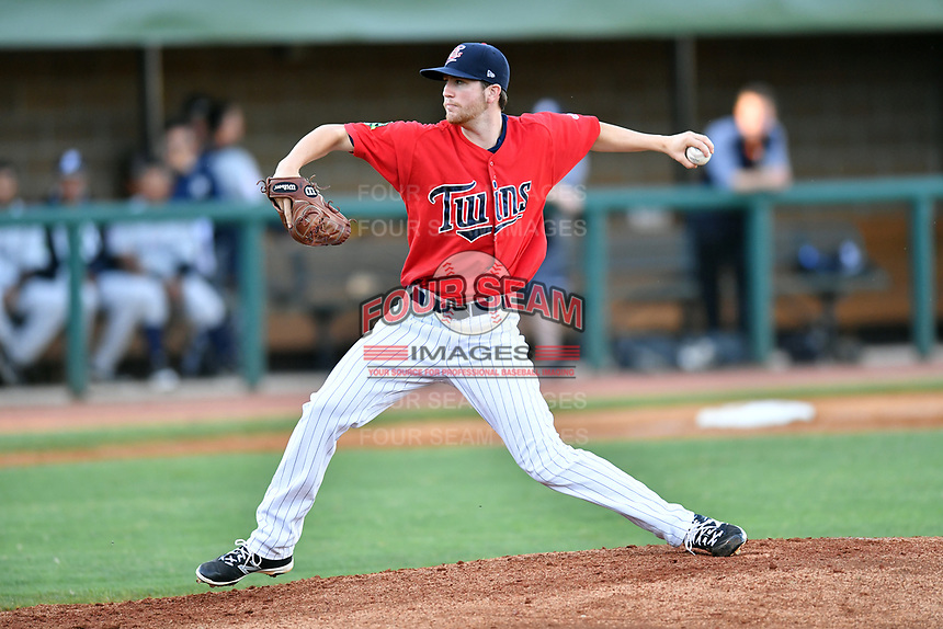 Elizabethton Twins starting pitcher Charlie Barnes (21) delivers a pitch during a game against the Pulaski Yankees at Joe O'Brien Field on June 27, 2016 in Elizabethton, Tennessee. The Yankees defeated the Twins 6-4. (Tony Farlow/Four Seam Images)