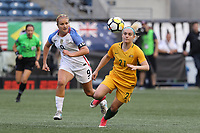 Seattle, WA - Thursday July 27, 2017: Lindsey Horan and Ellie Carpenter during a 2017 Tournament of Nations match between the women's national teams of the United States (USA) and Australia (AUS) at CenturyLink Field.