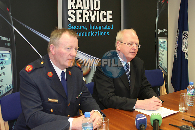 The Tanaiste and Minister for Justice, Equality and Law Reform, Mr. Michael McDowell, TD at Balbriggan Garda Station for the announcement of the National Digital Radio Service for an Garda Siochana....Photo NEWSFILE/Jenny Matthews.(Photo credit should read Jenny Matthews/NEWSFILE)....This Picture has been sent you under the condtions enclosed by:.Newsfile Ltd..The Studio,.Millmount Abbey,.Drogheda,.Co Meath..Ireland..Tel: +353(0)41-9871240.Fax: +353(0)41-9871260.GSM: +353(0)86-2500958.email: pictures@newsfile.ie.www.newsfile.ie.FTP: 193.120.102.198.