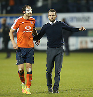 Danny Hylton of Luton Town and Nathan Jones (Manager) of Luton Town after the Sky Bet League 2 match between Luton Town and Barnet at Kenilworth Road, Luton, England on 31 December 2016. Photo by David Horn.