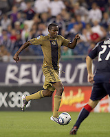 Philadelphia Union forward Danny Mwanga (10) dribbles. The Philadelphia Union defeated New England Revolution, 2-1, at Gillette Stadium on August 28, 2010.