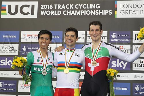 02.032016. Lee Valley Velo Centre, London England. UCI Track Cycling World Championships Men's scratch race Final.  Podium : PRADO Ignacio (MEX) - MORA VEDRI Sebastian (ESP) - IMHOF Claudio (SUI)