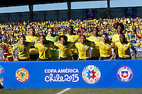 RANCAGUA- CHILE - 14-04-2015: Los jugadores del Colombia, posan para una foto durante partido Colombia y Venezuela, por la fase de grupos, Grupo C, de la Copa America Chile 2015, en el estadio El Teniente en la Ciudad de Rancagua. / The players of Colombia, pose for a photo during a match between Colombia and Venezuela for the group phase, Group C, of the Copa America Chile 2015, in the El Teniente stadium in Rancagua city. Photos: VizzorImage /  Photosport / Marcelo Hernandez / Cont.