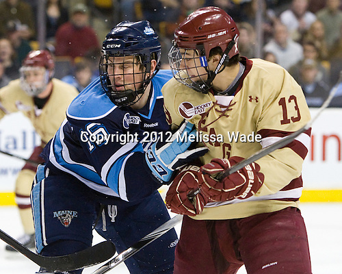 Brice O'Connor (Maine - 16), Johnny Gaudreau (BC - 13) - The Boston College Eagles defeated the University of Maine Black Bears 4-1 to win the 2012 Hockey East championship on Saturday, March 17, 2012, at TD Garden in Boston, Massachusetts.