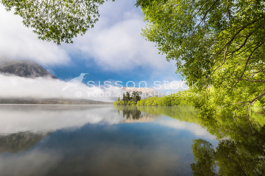 Lake Pearson, Arthurs Pass, Canterbury, New Zealand - stock photo, canvas, fine art print