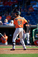 Baltimore Orioles pinch hitter Cael Brockmeyer (81) at bat during a Grapefruit League Spring Training game against the Philadelphia Phillies on February 28, 2019 at Spectrum Field in Clearwater, Florida.  Orioles tied the Phillies 5-5.  (Mike Janes/Four Seam Images)