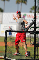 Clearwater Threshers manager Greg Legg (11) throwing batting practice before a game against the Daytona Tortugas at Radiology Associates Field at Jackie Robinson Ballpark on May 9, 2015 in Daytona, Florida. Clearwater defeated Daytona 7-0. (Robert Gurganus/Four Seam Images)