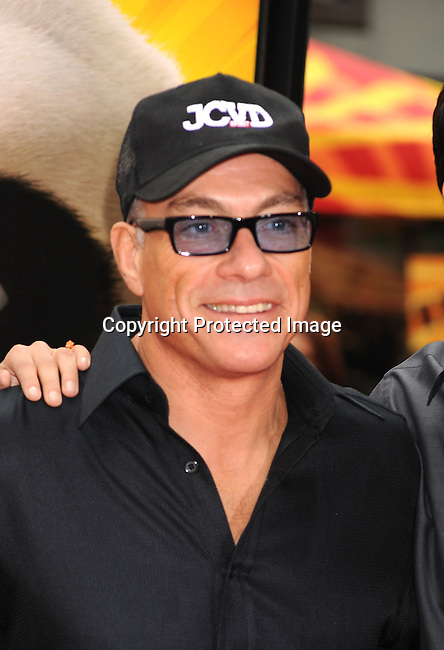 "HOLLYWOOD, {CA} -MAY 22: Jean-Claude Van Damme arrives at the Los Angeles premiere of ""Kung Fu Panda 2"" held at Grauman's Chinese Theatre on May 22, 2011 in Hollywood, California."