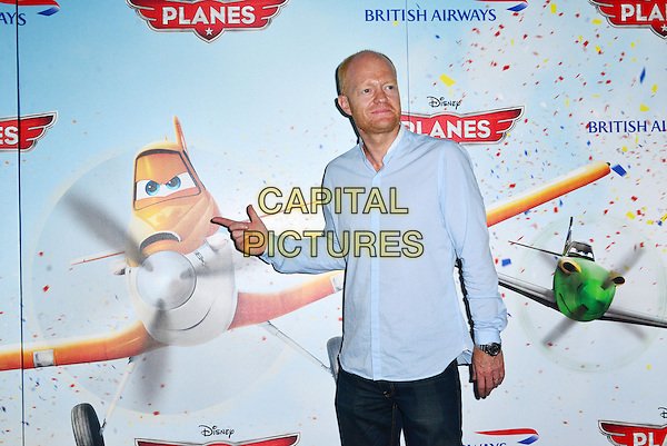 Jake Wood<br /> The &quot;Planes 3D&quot; VIP film screening, Odeon Leicester Square, Leicester Square, London, England.<br /> July 14th, 2013<br /> half length blue shirt stubble facial hair hand finger pointing <br /> CAP/BF<br /> &copy;Bob Fidgeon/Capital Pictures