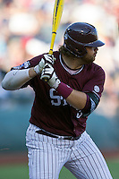 Mississippi State first baseman Wes Rea (35) at bat against the Indiana Hoosiers during Game 6 of the 2013 Men's College World Series on June 17, 2013 at TD Ameritrade Park in Omaha, Nebraska. The Bulldogs defeated Hoosiers 5-4. (Andrew Woolley/Four Seam Images)