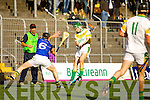 Maurice Corridan Lixnaw in action against Sean Godley Kilmoyley in the County Senior Hurling final at Austin Stack Park on Saturday.