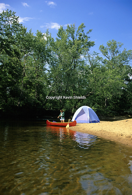 Camping along the Saco River, Fryeburg, Oxford County, Maine, USA