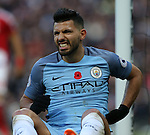 Sergio Aguero of Manchester City holds his back in pain during the Premier League match at the Etihad Stadium, Manchester. Picture date: November 5th, 2016. Pic Simon Bellis/Sportimage