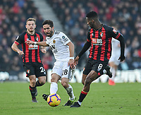 Wolverhampton Wanderers' Joao Moutinho under pressure from Bournemouth's Jefferson Lerma <br /> <br /> Photographer David Horton/CameraSport<br /> <br /> The Premier League - Bournemouth v Wolverhampton Wanderers - Saturday 23 February 2019 - Vitality Stadium - Bournemouth<br /> <br /> World Copyright © 2019 CameraSport. All rights reserved. 43 Linden Ave. Countesthorpe. Leicester. England. LE8 5PG - Tel: +44 (0) 116 277 4147 - admin@camerasport.com - www.camerasport.com