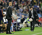FC Barcelona's Pep Guardiola (l) and Real Zaragoza's coach Jose Aurelio Gay  during La Liga match.October 23,2010. (ALTERPHOTOS/Acero)