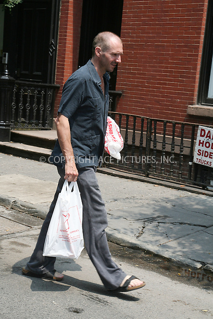 WWW.ACEPIXS.COM ************....EXCLUSIVE - ALL ROUNDER....July 27 2008, New York City....Bristish actor Ralph Fiennes was spotted walking around the West Village with a friend (not pictured) carrying bags from a supplier of Kitchen products.....Fiennes, who has been performing in 'First Love' by Samuel Beckett at the Lincoln Centre, has bought a loft in the trendy 'Meatpacking' District according to the New York press. July 27 2008, New York City......Please byline: PHILIP VAUGHAN - ACEPIXS.COM.. *** ***  ..Ace Pictures, Inc:  ..tel: (646) 769 0430..e-mail: info@acepixs.com..web: http://www.acepixs.com