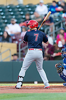 Memphis Redbirds designated hitter Andrew Knizner (7) during a Pacific Coast League game against the Omaha Storm Chasers on April 26, 2019 at Werner Park in Omaha, Nebraska. Memphis defeated Omaha 7-3. (Zachary Lucy/Four Seam Images)