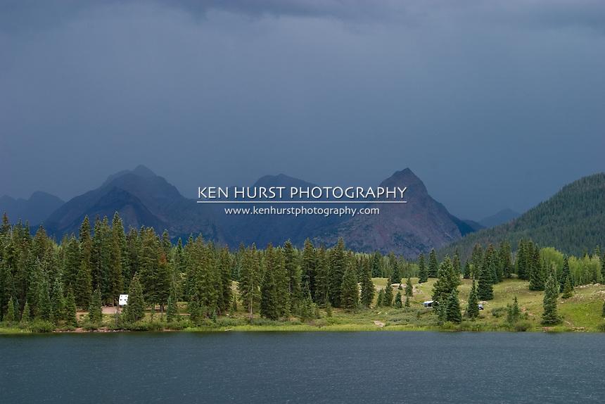 Sudden rain storms approach Molas Lake near Molas Pass, Colorado.