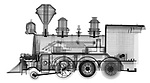 X-ray image of a steam locomotive (black on white) by Jim Wehtje, specialist in x-ray art and design images.