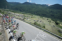 the peloton, with Maglia Rosa  Alberto Contador (ESP/Tinkoff-Saxo) up front, up the only climb of the day (straight after the start): the Teglio climb (851m)<br /> <br /> stage 17: Tirano - Lugano (SUI) (134km)<br /> 2015 Giro d'Italia