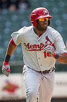 Memphis Redbirds first baseman Xavier Scruggs (16) runs to first base during the first game of a Pacific Coast League doubleheader against the Round Rock Express on August 3, 2014 at the Dell Diamond in Round Rock, Texas. The Redbirds defeated the Express 4-0. (Andrew Woolley/Four Seam Images)