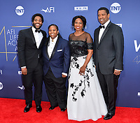 LOS ANGELES, USA. June 07, 2019: John David Washington, Katia Washington, Denzel Washington & Pauletta Washington at the AFI Life Achievement Award Gala.<br /> Picture: Paul Smith/Featureflash