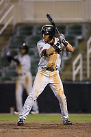 Anderson Tejeda (1) of the Hickory Crawdads at bat against the Kannapolis Intimidators at Kannapolis Intimidators Stadium on April 22, 2017 in Kannapolis, North Carolina.  The Intimidators defeated the Crawdads 10-9 in 12 innings.  (Brian Westerholt/Four Seam Images)