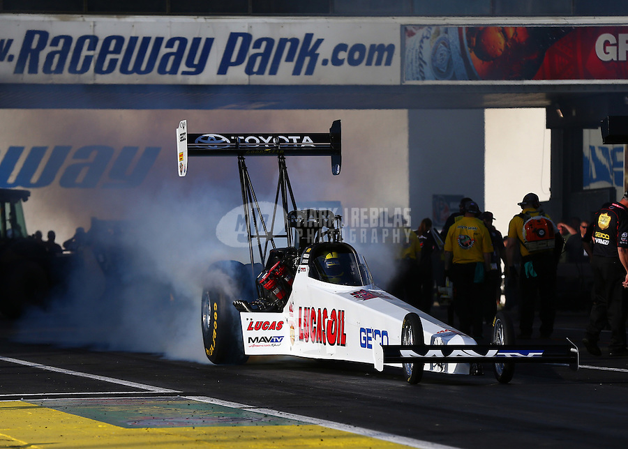 May 30, 2014; Englishtown, NJ, USA; NHRA top fuel driver Morgan Lucas during qualifying for the Summernationals at Raceway Park. Mandatory Credit: Mark J. Rebilas-