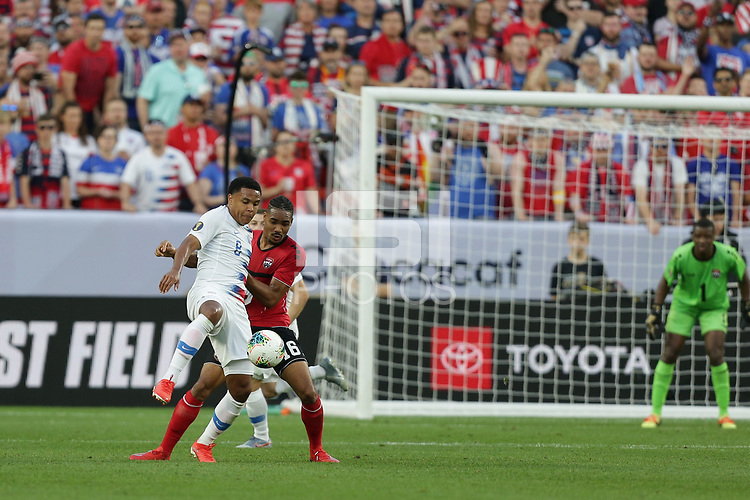 CLEVELAND, OHIO - JUNE 22: Weston McKennie #8, Alvin Jones #16 during a 2019 CONCACAF Gold Cup group D match between the United States and Trinidad & Tobago at FirstEnergy Stadium on June 22, 2019 in Cleveland, Ohio.