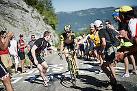 'a little push' up the Lacets du Grand Colombier (Cat1/891m/8.4km/7.6%)<br /> <br /> stage 15: Bourg-en-Bresse to Culoz (160km)<br /> 103rd Tour de France 2016