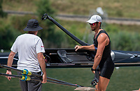 """Lucerne, SWITZERLAND, 14th July 2018, Saturday """"NZL M1X, """"Robbie MANSON"""", with, """"Coach, Noel DONALDSON"""", boating for the """"A/B Semi Finals"""",  FISA World Cup III Lake Rotsee, © Peter SPURRIER,"""