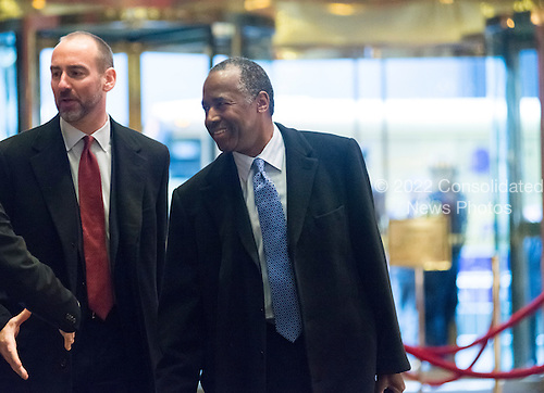 Dr. Ben Carson, United States President-elect Donald Trump's nominee for Secretary of Housing and Urban Development (HUD), is seen in the lobby of Trump Tower in New York, NY, USA upon his arrival on December 12, 2016. <br /> Credit: Albin Lohr-Jones / Pool via CNP
