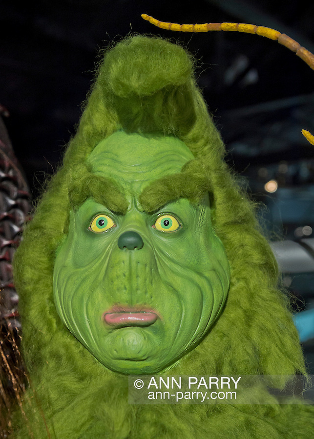 Garden City, New York. 15th June 2013. The head of the Grinch, as portrayed by Jim Carey in How the Grinch Stole Christmas movie, is on display at the Eternal Con Pop Culture Expo, which was hosted by the Cradle of Aviation Museum of Long Island. This and other film memorabilia was brought by Billy Simons.