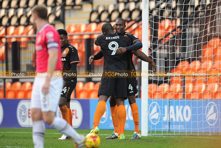 Barnet's Bira Dembele celebrates scoring his team's first goal and equaliser with teammate John Akinde during Barnet vs Notts County, Sky Bet EFL League 2 Football at the Hive Stadium on 26th November 2016