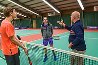 Wateringen, The Netherlands, December 1,  2019, De Rhijenhof , NOJK 12 and16 years, Final boys 16 years: Brian Bozemoj (NED) (L) and Miko Wassermann (NED) with the toss<br /> Photo: www.tennisimages.com/Henk Koster
