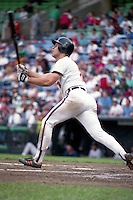 Baltimore Orioles shortstop Cal Ripken Jr at bat during a game against the Boston Red Sox during the 1991 season at Memorial Stadium in Baltimore, Maryland.  (MJA/Four Seam Images)