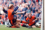 Rangers v Dundee Utd 23.8.97:  Marco Negri squeezes in at the post to score his first goal