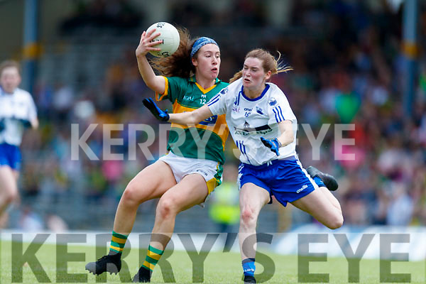 Emma Dineen Kerry in action against Carragh McCarthy  Waterford in the TG4 Munster Senior Ladies Football Championship semi-final match between Kerry and Waterford at Fitzgerald Stadium in Killarney on Sunday.