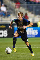 Brian Carroll (7) of the Philadelphia Union. The Chicago Fire defeated the Philadelphia Union 3-1 during a Major League Soccer (MLS) match at PPL Park in Chester, PA, on August 12, 2012.