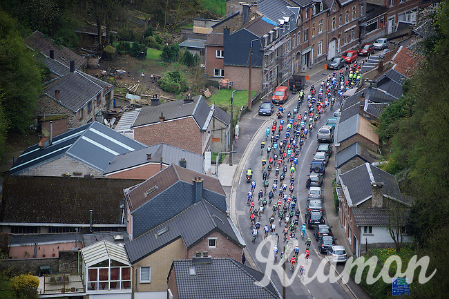 birds view of the peloton going through a village early in the race<br /> <br /> 101th Liège-Bastogne-Liège 2015