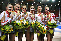 September 22, 2007; Patras, Greece;   Rhythmic group from Russia celebrates winning All-Around gold in rhythmic group competition at 2007 World Championships Patras.    Russian group qualified for  2008 Beijing Olympic Games.  Photo by Tom Theobald.