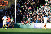 Matt Hopper of Harlequins dives over to score the opening try during the Heineken Cup Round 5 match between Harlequins and ASM Clermont Auvergne at the Twickenham Stoop on Saturday 11th January 2014 (Photo by Rob Munro)