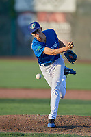 Vinny Santarsiero (35) of the Ogden Raptors delivers a pitch to the plate against the Orem Owlz at Lindquist Field on June 26, 2018 in Ogden, Utah. The Raptors defeated the Owlz 6-5. (Stephen Smith/Four Seam Images)